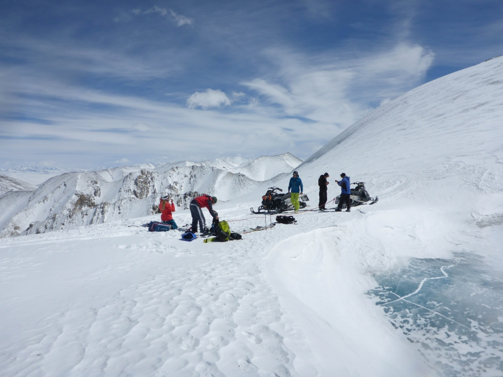 Getting ready to ski on Kumtor glacier