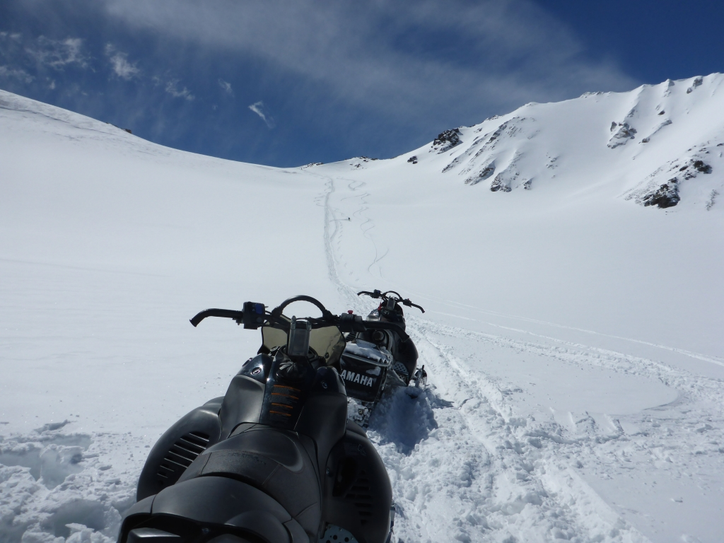 Snow mobiles at Kumtor glacier