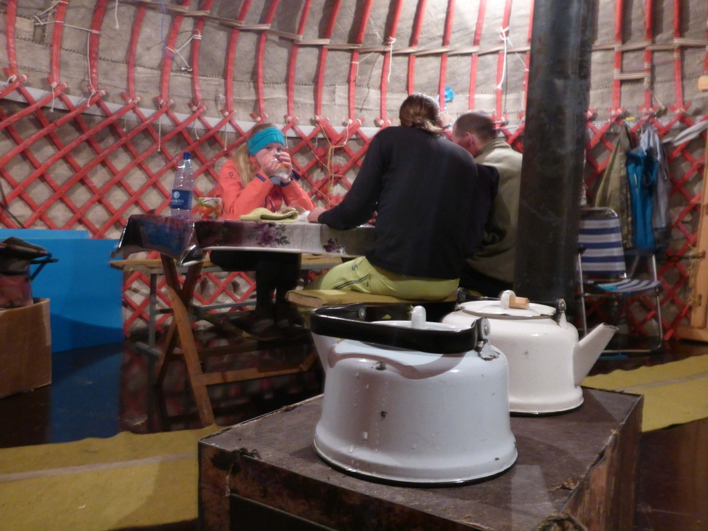drinking Chai in the yurt